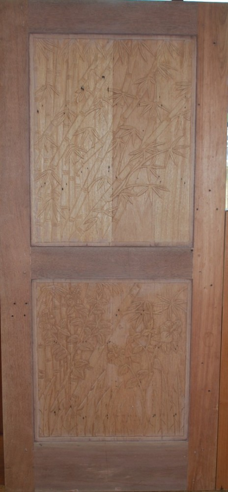 Solid Wood Door Bamboo Carving Unfinished Bamboomaui